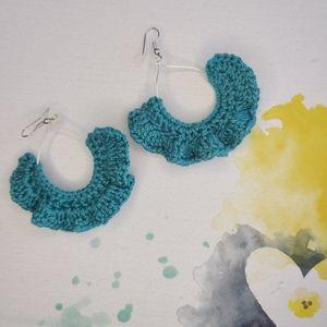 VENICE crochet fan dangle hook earrings boho